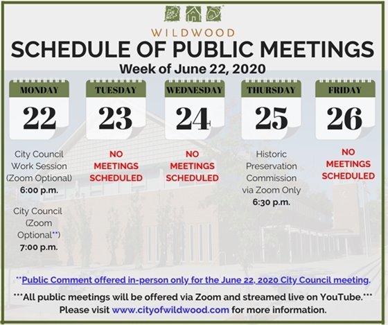 City of Wildwood - Schedule of Meetings for the Week of June 22, 2020