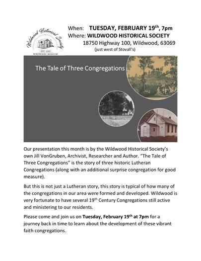 Wildwood Historical Society - February 19, 2019 Program @ 7:00 p.m.