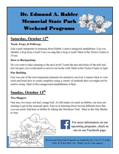 Babler State Park's Weekend Programs - October 12 and 13, 2019