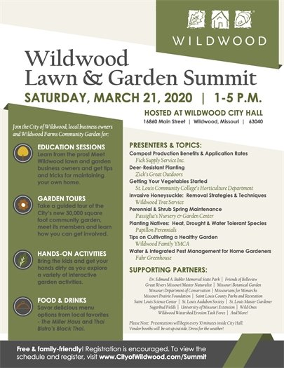 Wildwood Lawn and Garden Summit - March 21, 2020 - 1:00 p.m. to 5:00 p.m.
