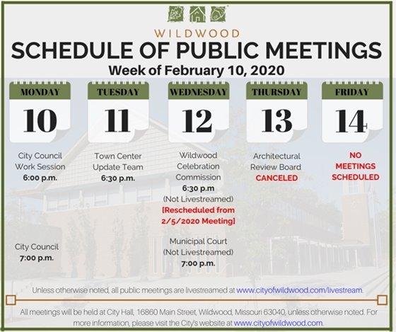 City of Wildwood Schedule of Meetings for the Week of February 10, 2020