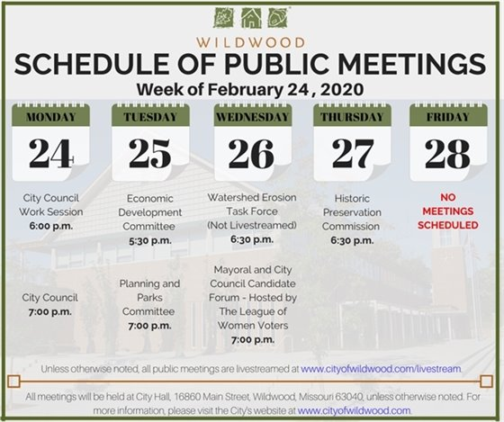 City of Wildwood - Schedule of Meetings for the Week of February 24, 2020