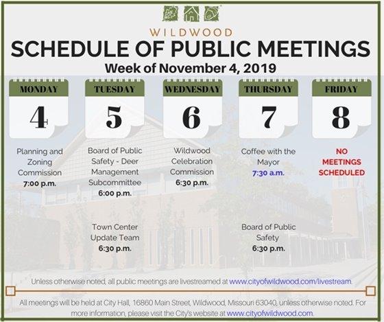 City of Wildwood - Schedule of Meetings for the Week of November 4, 2019