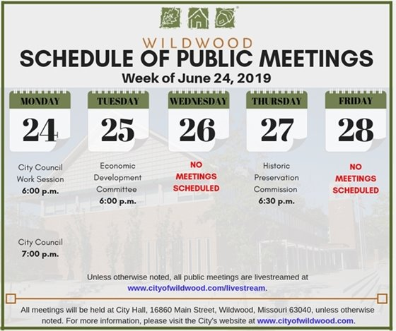 City of Wildwood Schedule of Public Meetings for the Week of June 24, 2019