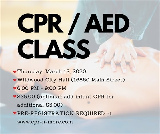 CPR/AED Class - Hosted by the City of Wildwood - March 12, 2020 @ 6:00 p.m.