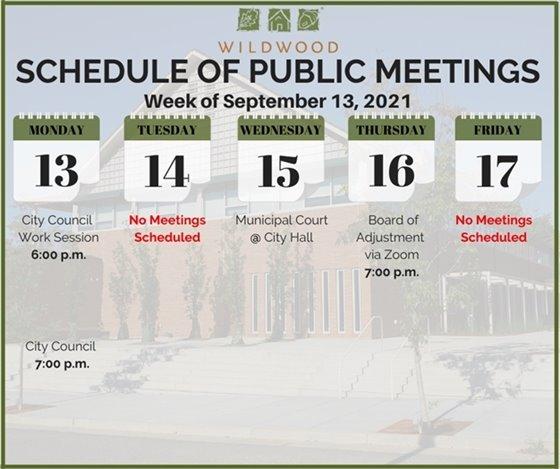 City of Wildwood - Schedule of Meetings for the week of September 13, 2021