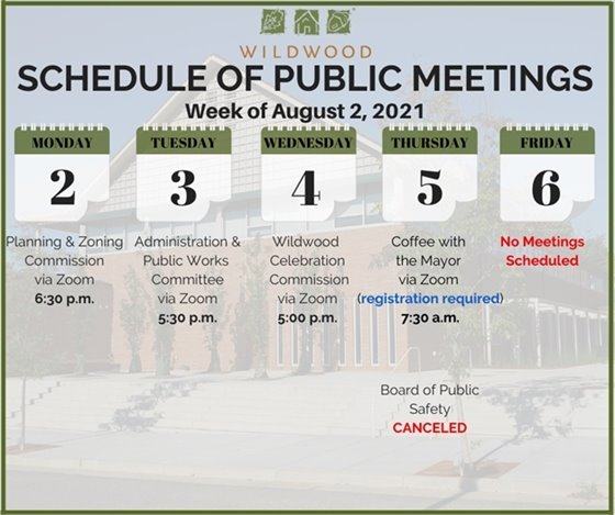 City of Wildwood - Schedule of Meetings for the Week of August 2, 2021