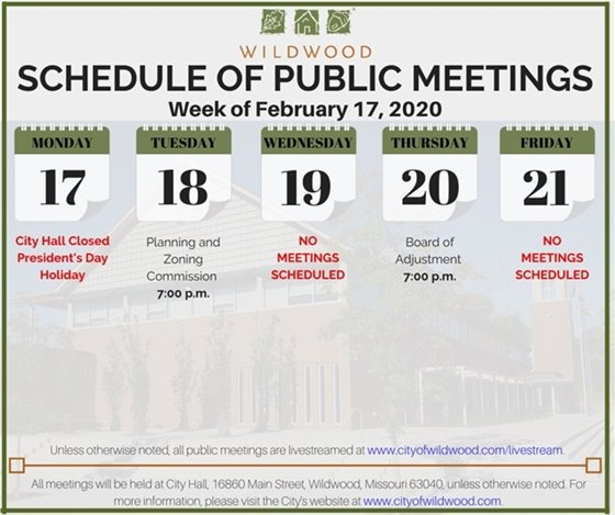 City of Wildwood - Schedule of Meetings for the Week of February 17, 2020