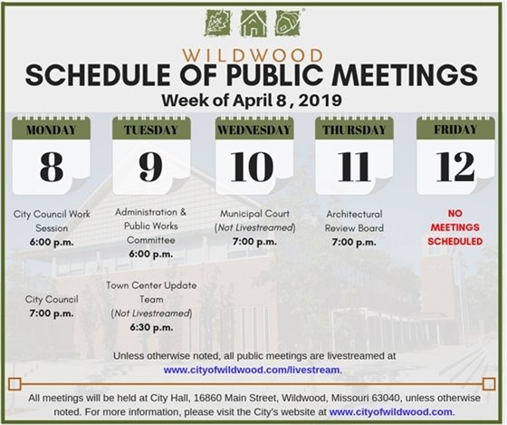 City of Wildwood Schedule of Meetings for the Week of April 8, 2019