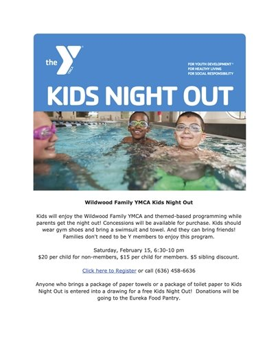 Wildwood Family YMCA's KIDS NIGHT OUT - February 15, 2020