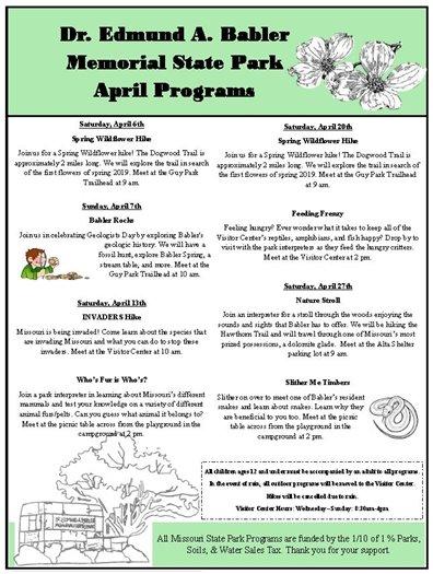 Babler State Park - April Programs for Your Enjoyment