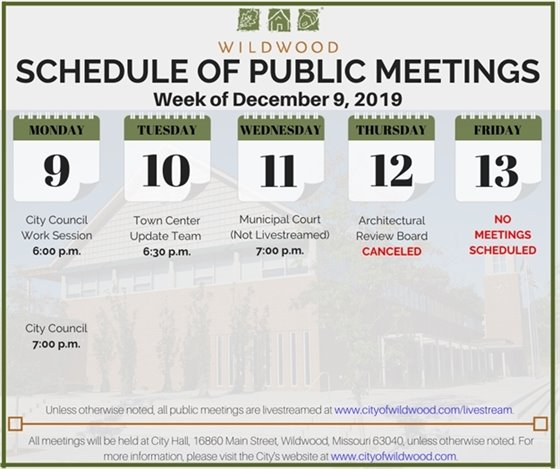 City of Wildwood - Schedule of Meetings for the Week of December 9, 2019