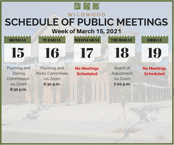City of Wildwood - Schedule of Public Meetings for the Week of March 15, 2021