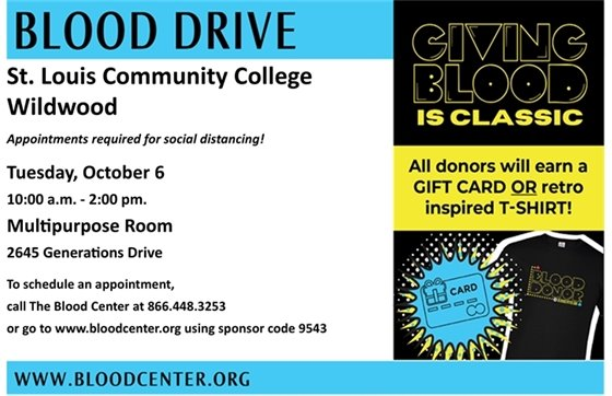 Blood Drive @ St. Louis Community College - Wildwood Campus - October 6, 2020