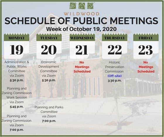 City of Wildwood - Schedule of Meetings for the Week of October 19, 2020