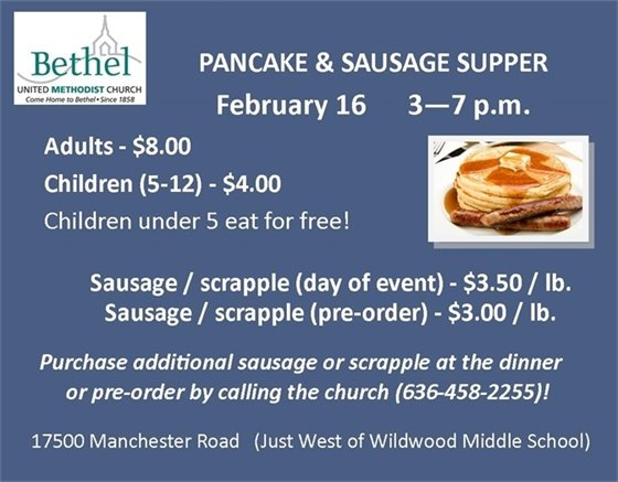 Bethel United Methodist Church - Pancake and Sausage Supper - February 16, 2019