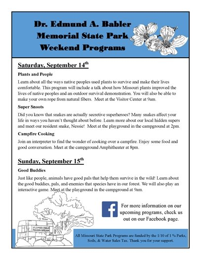 Babler State Park - Event Schedule for September 14 and 15, 2019