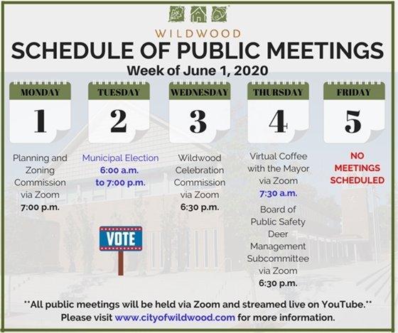 City of Wildwood - Schedule of Meetings for the Week of June 1, 2020