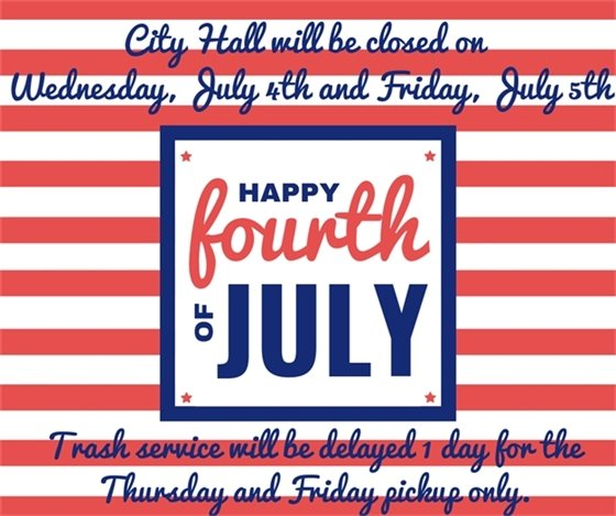 City Hall Closed on Thursday, July 4th and Friday, July 5th