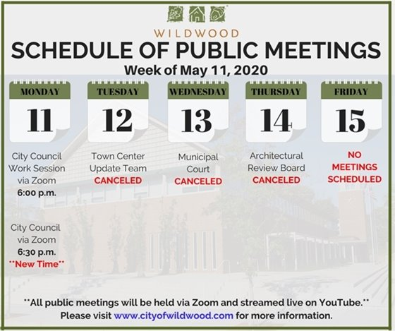 City of Wildwood - Schedule of Meetings for the Week of May 11, 2020