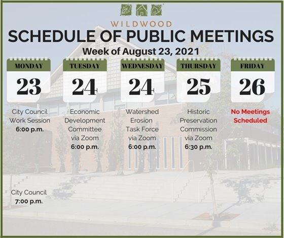 Schedule of Meetings for the City of Wildwood - Week of August 23, 2021