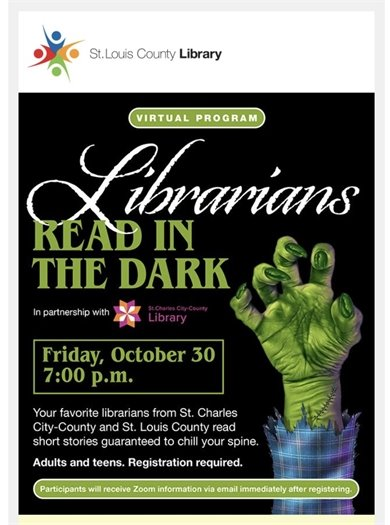 "St. Louis County Library District - ""Librarians - Read in the Dark"" - October 30, 2020"