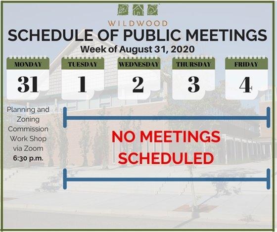 City of Wildwood - Schedule of Meetings for the Week of August 31, 2020