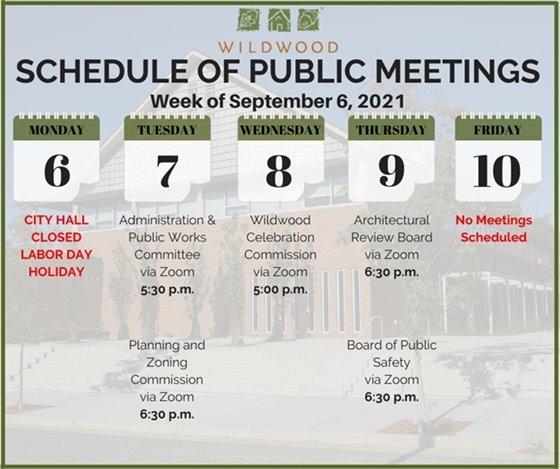 City of Wildwood - Schedule of Meetings for the Week of September 6, 2021