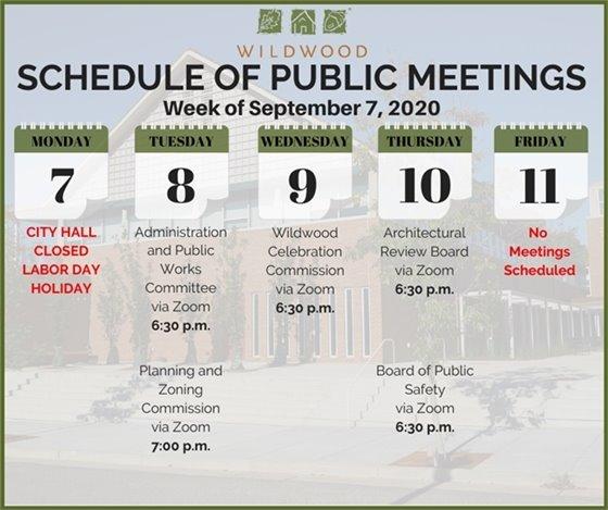 City of Wildwood - Schedule of Meetings - Week of September 7, 2020