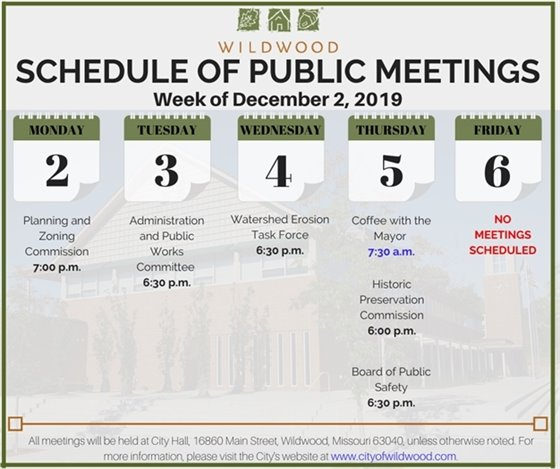 Schedule of Meetings - City of Wildwood for the Week of December 2, 2019