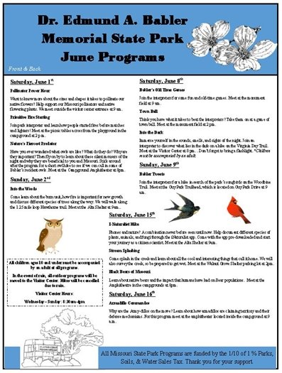 Babler State Park Events for the Month of June