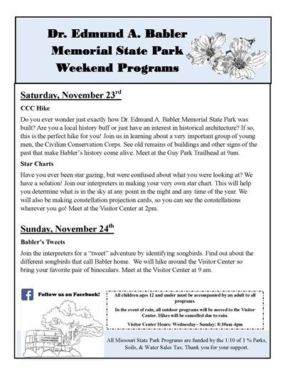 Babler State Park - Event Schedule for the Weekend of November 23 and 24, 2019
