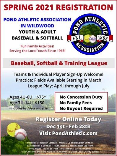 Spring 2021 Registration - Pond Athletic Association - Through February 28, 2021