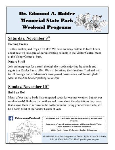 Babler State Park - Weekend Programs for November 9 and 10, 2019