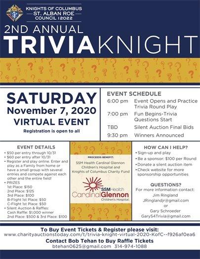 Knights of Columbus - St. Alban Roe Church Trivia Knight - November 7, 2020