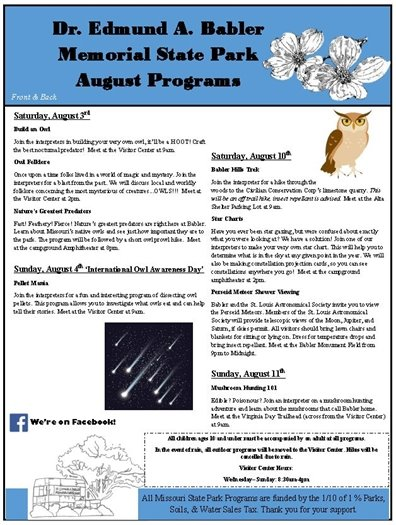 Event Schedule for Babler State Park - August 2019