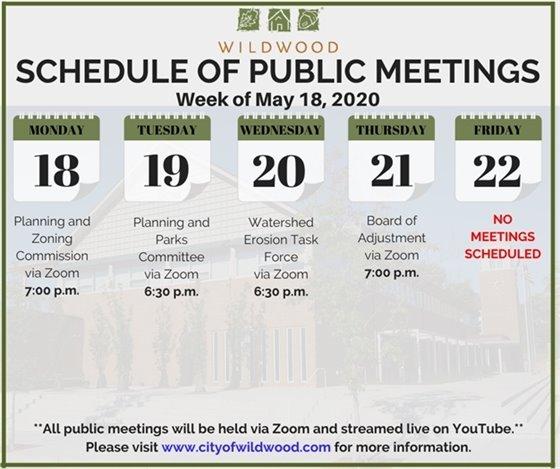City of Wildwood - Schedule of Meetings for the Week of May 18, 2020
