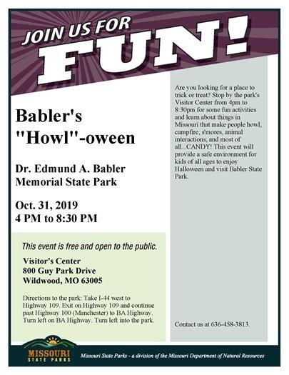 Babler State Park's Howl-oween - October 31, 2019