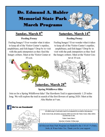 Babler State Park Programming - March 8, 14, and 28, 2020