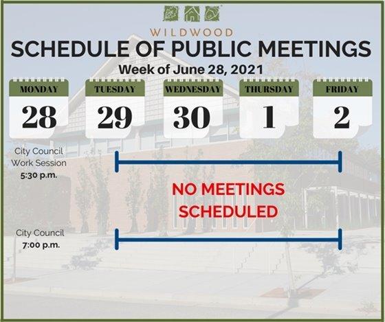 City of Wildwood - Schedule of Meetings for the Week of June 28, 2021