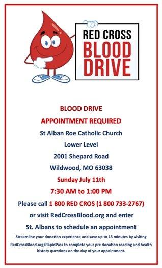 St. Alban Roe Catholic Church - Blood Drive - Sunday, July 11th
