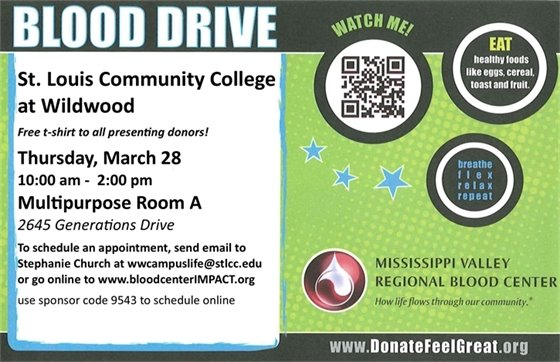 Blood Drive @ St. Louis Community College - Wildwood Campus - March 28, 2019