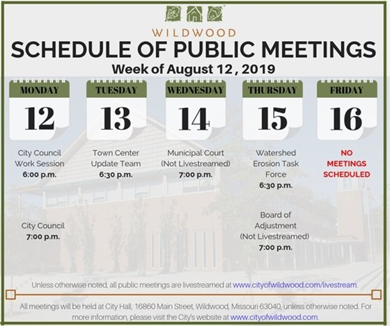 Schedule of Meetings for the City of Wildwood - Week of August 12, 2019