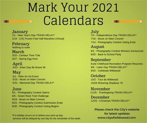 City of Wildwood Event Schedule - 2021