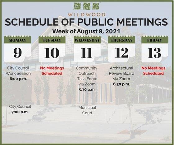 City of Wildwood - Schedule of Meetings for the Week of August 9, 2021