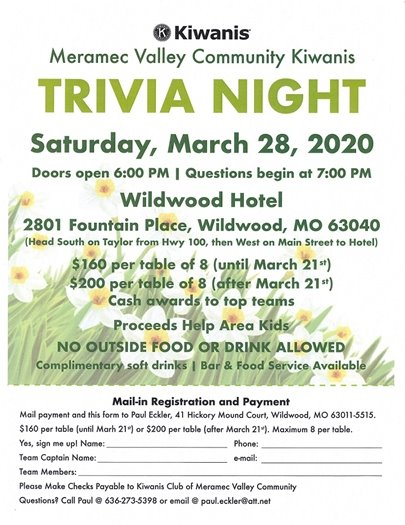 Meramec Valley Community Kiwanis - Trivia Night - March 28, 2020