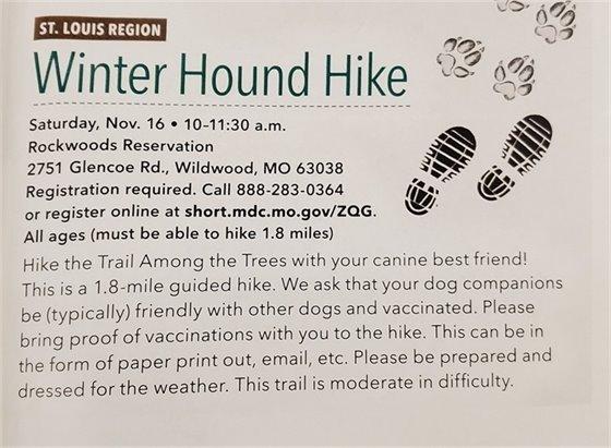 Winter Hound Hike - November 16, 2019 @ Rockwoods Reservation