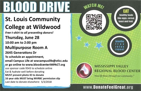 BLOOD DRIVE @ St. Louis Community College - Wildwood - 6-28-2018