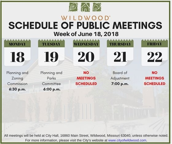 Schedule of Public Meetings - June 18th - Wildwood, Mo.