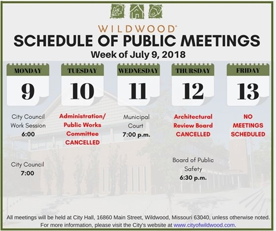 Public Meeting Schedule for Week of July 9, 2018